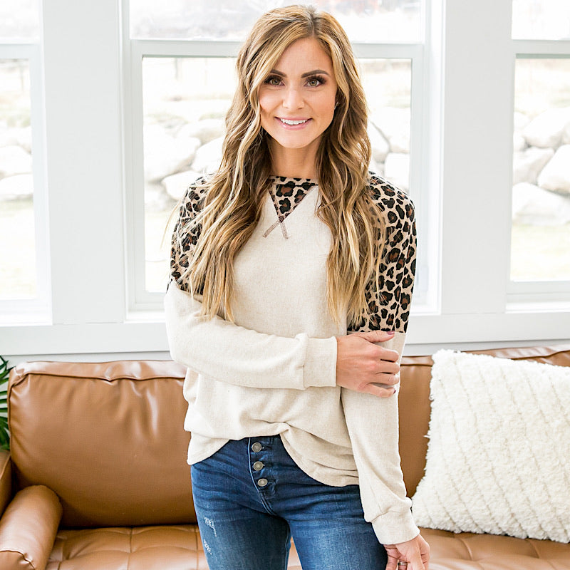 NEW! Dakota Oatmeal and Leopard Long Sleeve Top - Arrow Twenty Two
