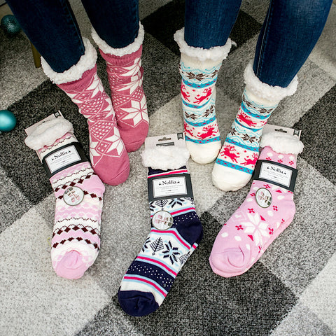 DOORBUSTER! Slipper Socks - Pink and Blue - Arrow Twenty Two