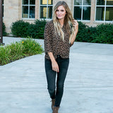 Vivian Leopard 3/4 Sleeve Blouse - Arrow Twenty Two