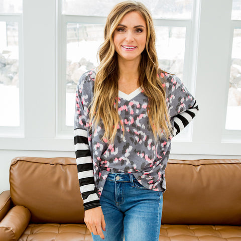 NEW! April Gray and Pink Leopard Top with Striped Sleeves
