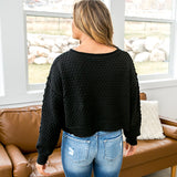 Black Textured Cropped Distressed Sweater - Arrow Twenty Two
