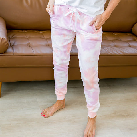 NEW! Pink and Peach Tie Dye Lounge Joggers - Arrow Twenty Two