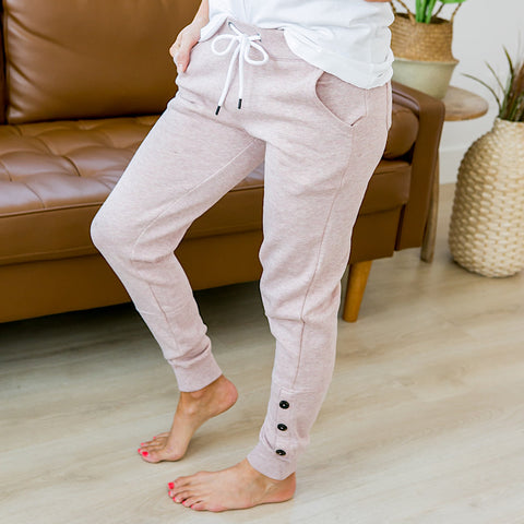 NEW! Blush Pink Button Hem Jogger Lounge Pants - Arrow Twenty Two