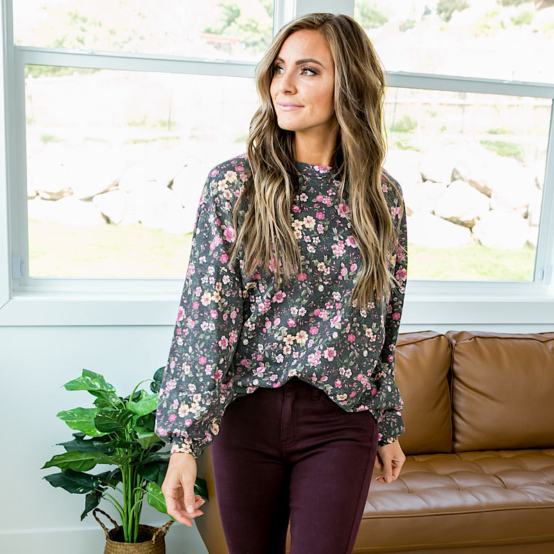 NEW! Mae Faded Black Floral Long Sleeve Top - Arrow Twenty Two