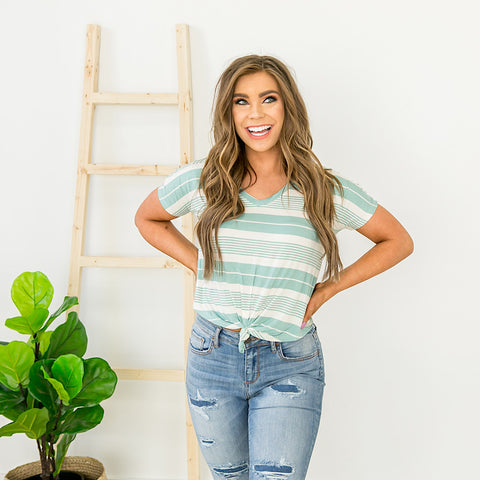 NEW! Mint and Ivory Striped Crop Top