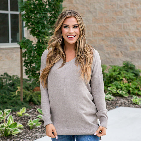 NEW! Mocha V Neck Sweater