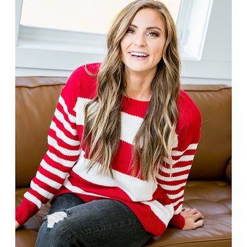 DOORBUSTER! Kinley Red and Ivory Striped Sweater