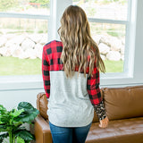 NEW! Ivy Red Buffalo Plaid and Leopard Pocket Long Sleeve Top - Arrow Twenty Two