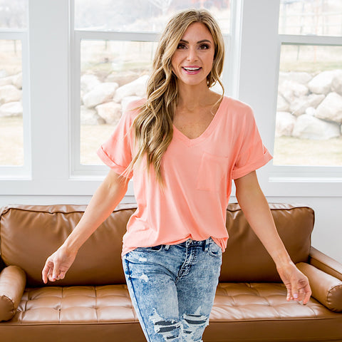 NEW! Bexley Coral Boyfriend V Neck Top