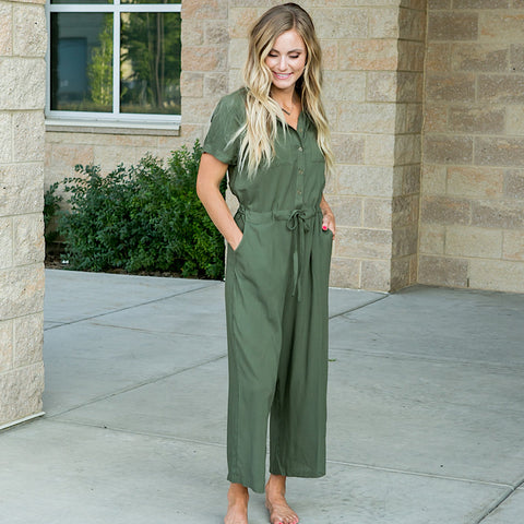 Olive Button Down Jumpsuit