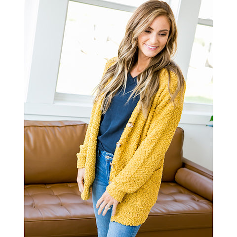 Mustard Popcorn Cardigan - Arrow Twenty Two