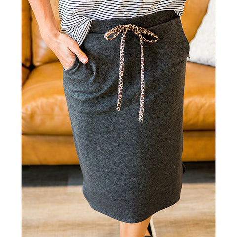 NEW! Jene Charcoal Skirt with Leopard Tie - Arrow Twenty Two