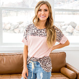 NEW! Ellie Pink and Leopard Color Block Short Sleeve Top - Arrow Twenty Two