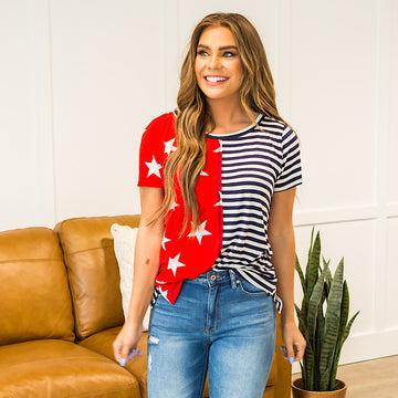 NEW! Bria Red Stars and Navy Stripes Top