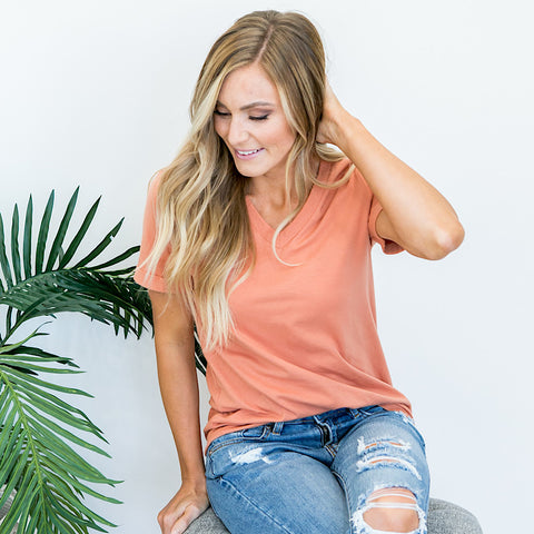 Everyday Burnt Orange V-Neck Top - Arrow Twenty Two