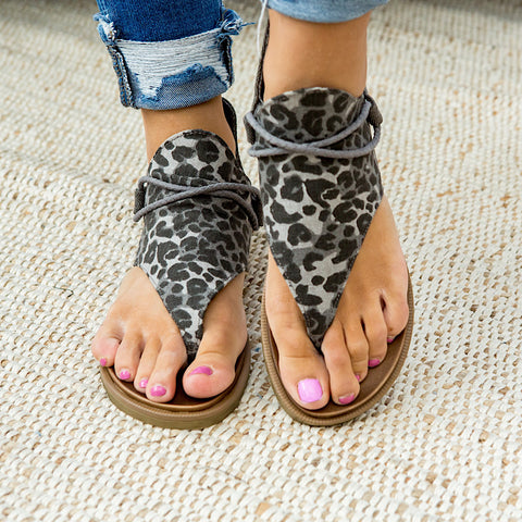 NEW! Very G Angelika Gray Leopard Sandals