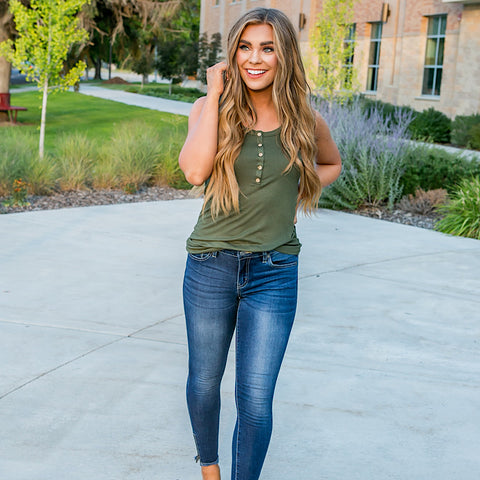 NEW! Lainey Olive Ribbed Button Up Tank