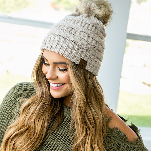 CC Pom Beanie - 5 Colors - Arrow Twenty Two