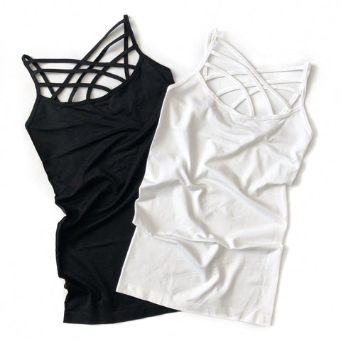 Seamless Criss Cross Strap Tank Top - Arrow Twenty Two