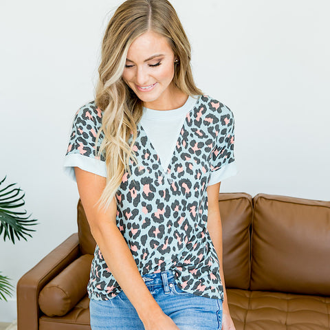 NEW! Mint and Pink Leopard Top - Arrow Twenty Two