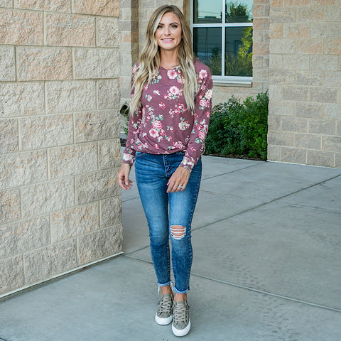 NEW! Jessica Burgundy Floral Long Sleeve Top
