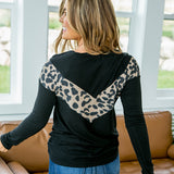 NEW! Laura Black and Leopard V Detail Long Sleeve Top - Arrow Twenty Two