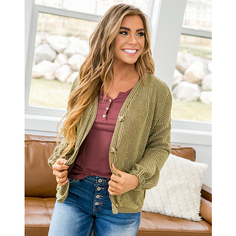 Olive Stripe Grandpa Cardigan - Arrow Twenty Two