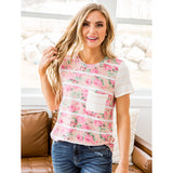 NEW! Evelyn Peach Stripe and Pink Floral Top - Arrow Twenty Two