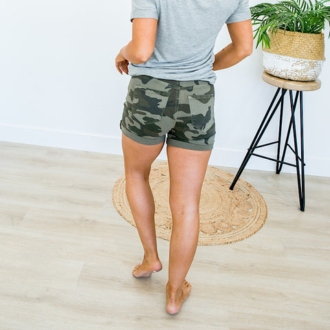 NEW! KanCan Camo Rolled Hem Shorts - Arrow Twenty Two