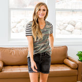 Julianna Camo Top with Black Striped Sleeves - Arrow Twenty Two