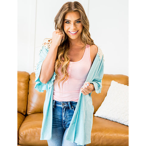 NEW! Lola Cardigan with Lace Shoulder Detail - Mint - Arrow Twenty Two