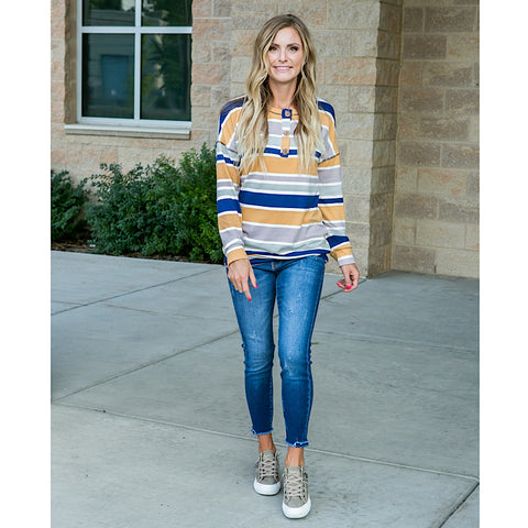 NEW! Tatum Navy and Mustard Striped Button Down Top - Arrow Twenty Two