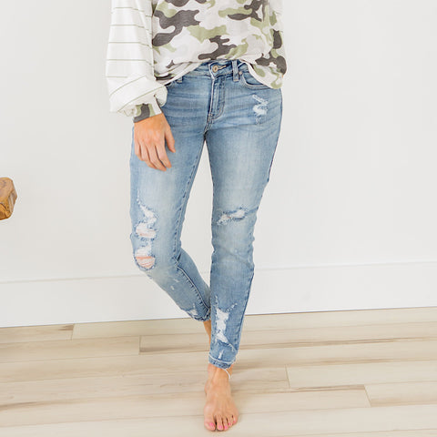 Must Have Light Wash Distressed Jeans