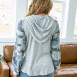 NEW! Celeste Heather Gray and Blue Camo Hooded Top - Arrow Twenty Two