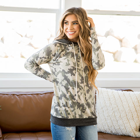 NEW! Kaitlyn Camo and Charcoal Hoodie
