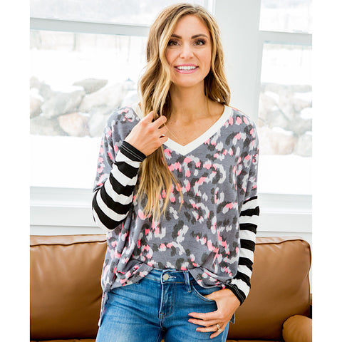 NEW! April Gray and Pink Leopard Top with Striped Sleeves - Arrow Twenty Two