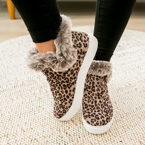 NEW! Plush Fur Lined Bootie - Leopard
