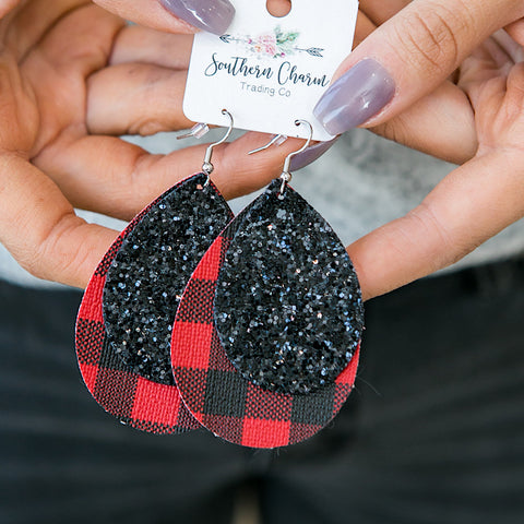 NEW! Red Buffalo Plaid and Black Glitter Double Teardrop Earrings