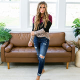 NEW! Kira Burgundy, Black and Leopard Top - Arrow Twenty Two