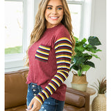 Burgundy Retro Striped Sleeve Top - Arrow Twenty Two