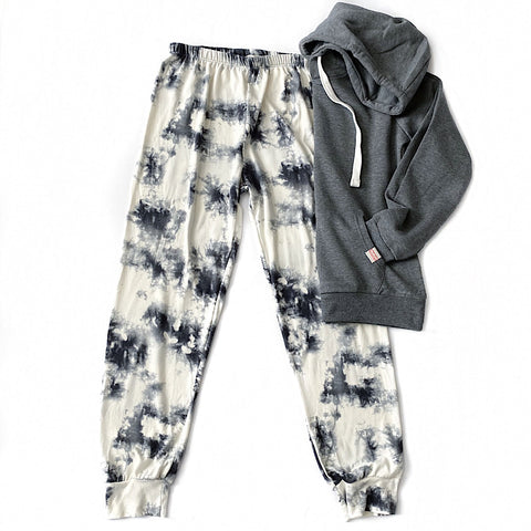 NEW! Ivory and Charcoal Tie Dye Lounge Pants