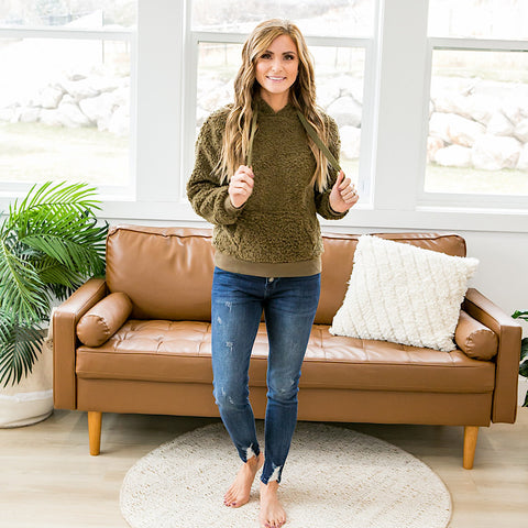 DOORBUSTER! Olive Fleece Hoodie - Arrow Twenty Two