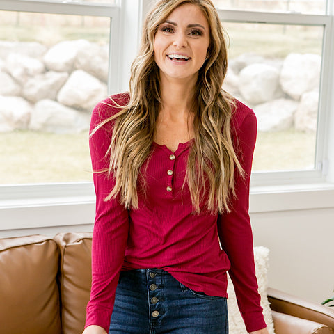 NEW! Daisy Crimson Ribbed Button Up Top