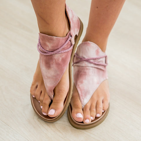 NEW! Very G Dusk Sandals - Blush Tie Dye