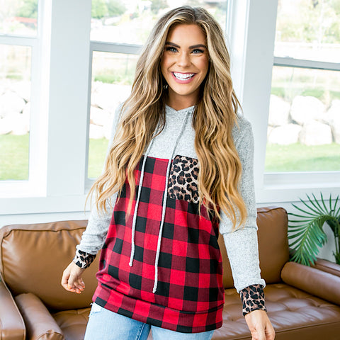 Jordan Heather Gray, Buffalo Plaid and Leopard Hooded Top