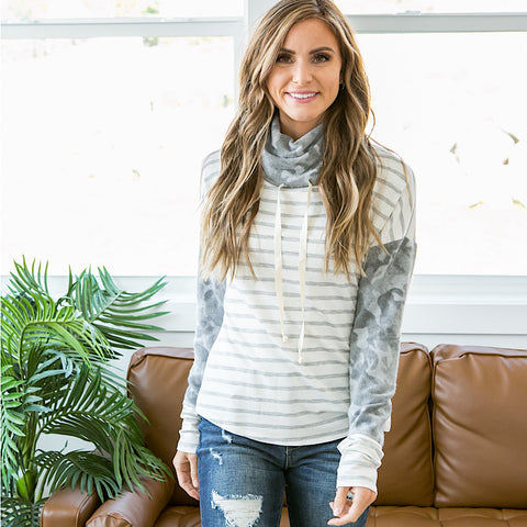 NEW! Jada Heather Gray Striped and Camo Cowl Neck