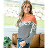 NEW! Mariah Rust, Leopard and Stripe V Detail Top - Arrow Twenty Two