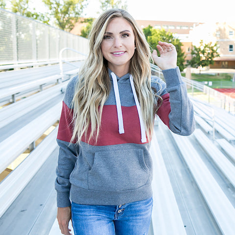 NEW! Heather Gray and Rust Striped Favorite Hoodie