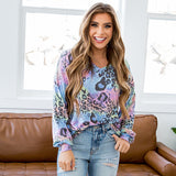 NEW! Stephanie Pastel Rainbow Leopard V Neck Top - Arrow Twenty Two