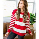 Kinley Red and Ivory Striped Sweater - Arrow Twenty Two